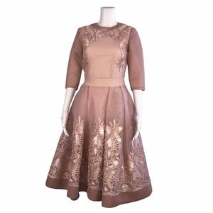 Maje Blush Nude Embroidered Fit Flare Dress